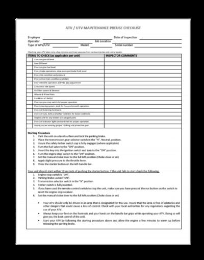 ATV/UTV Pre-Operation Checklist