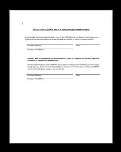 drug test acknowledgement