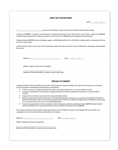 Drug Test Waiver Form