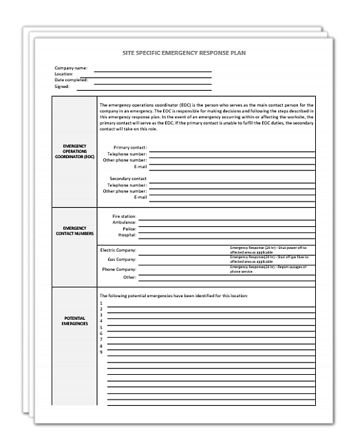 it incident response plan template - site specific emergency response plan template safety2go