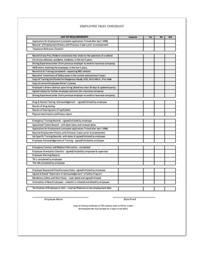 Employee Files Checklist