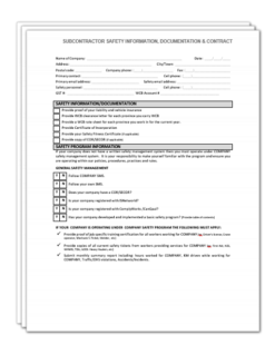 Subcontractor Information Package