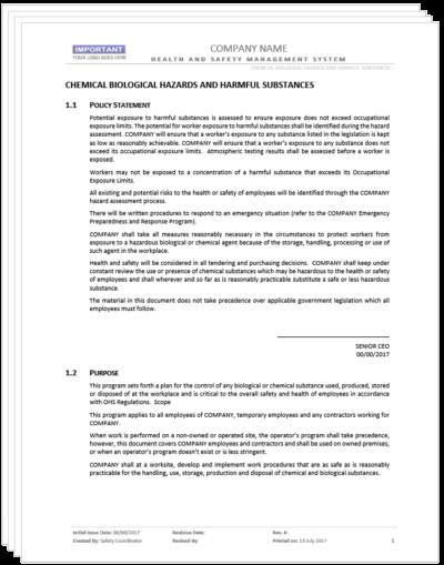 Chemical Biological Hazards And Harmful Substances Program