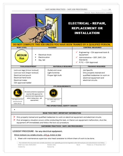 Electrical Safety - Repair Replacement Maintenance