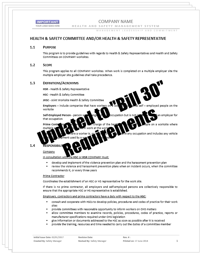 Health and Safety Committees Representatives_Bill 30