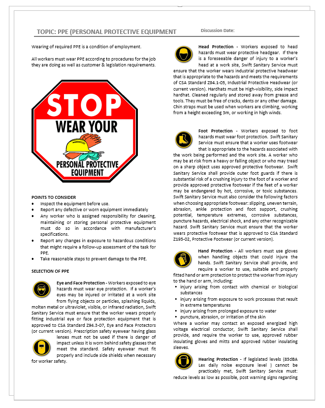 Safety Topic Ppe Safety2go