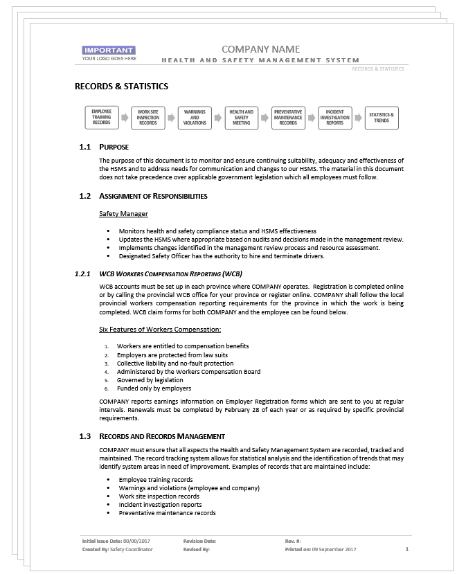 Records & Statistics Requirements – Safety2Go